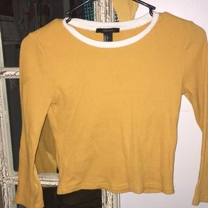 Mustard,slightly cropped sleeve shirt